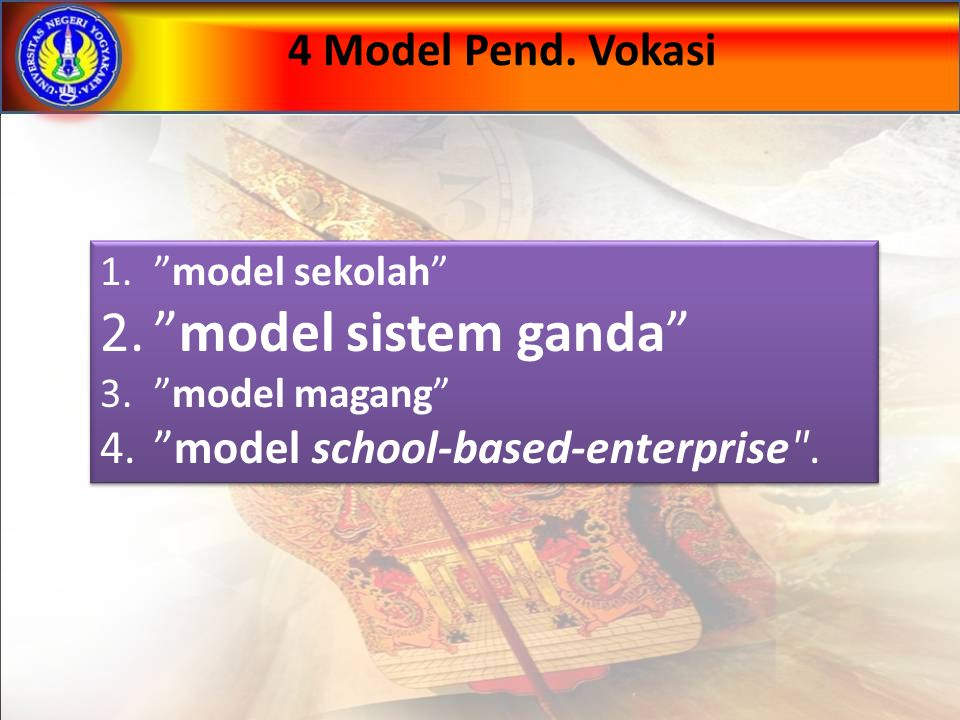 model sistem ganda 4 Model Pend. Vokasi
