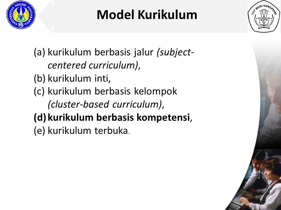 Model Kurikulum kurikulum berbasis jalur (subject-centered curriculum), kurikulum inti, kurikulum berbasis kelompok (cluster-based curriculum),