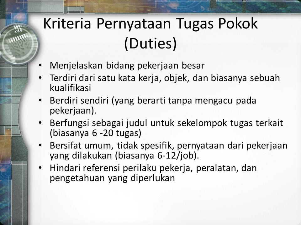 Kriteria Pernyataan Tugas Pokok (Duties)