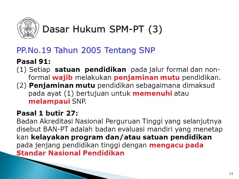 Dasar Hukum SPM-PT (3) PP.No.19 Tahun 2005 Tentang SNP Pasal 91: