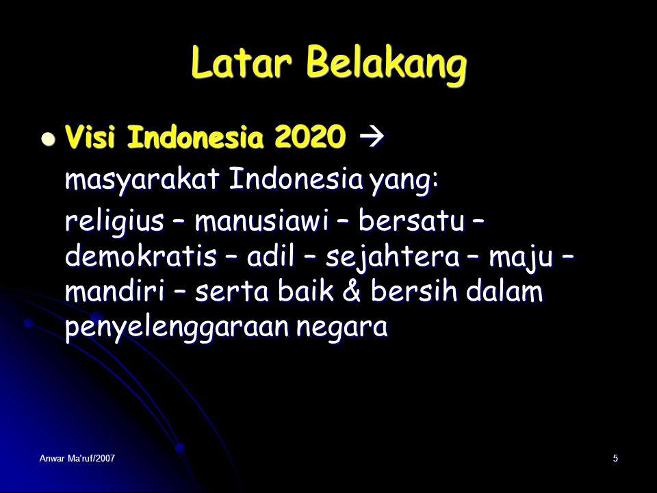 Latar Belakang Visi Indonesia 2020 