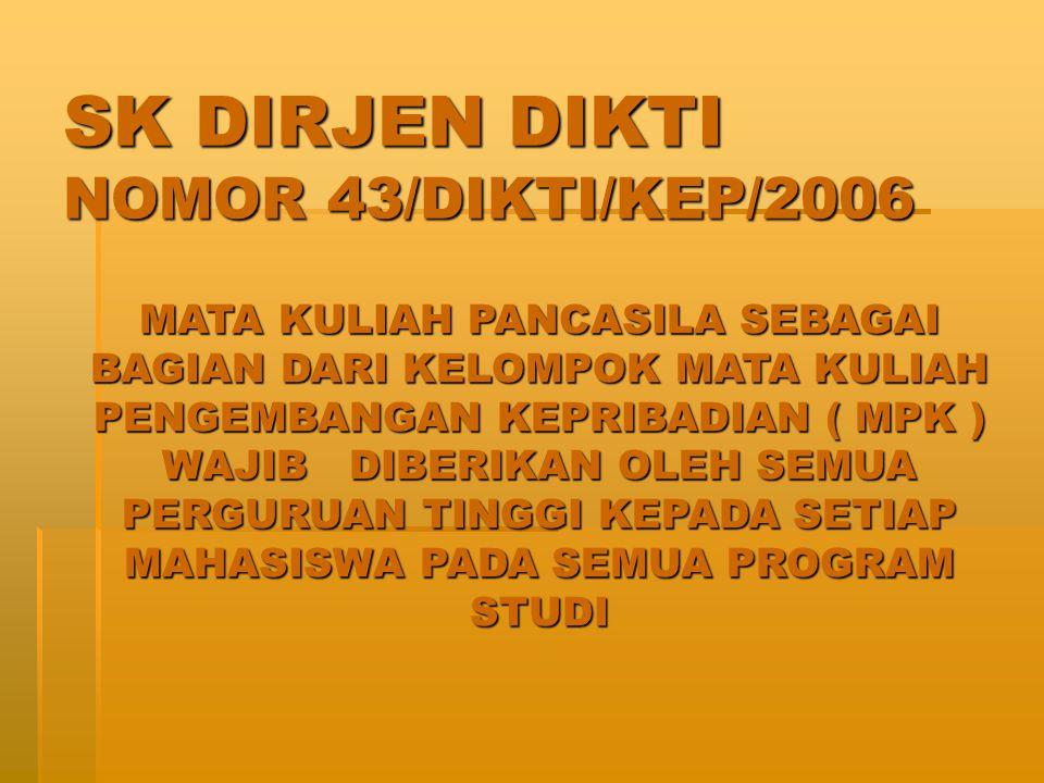 SK DIRJEN DIKTI NOMOR 43/DIKTI/KEP/2006