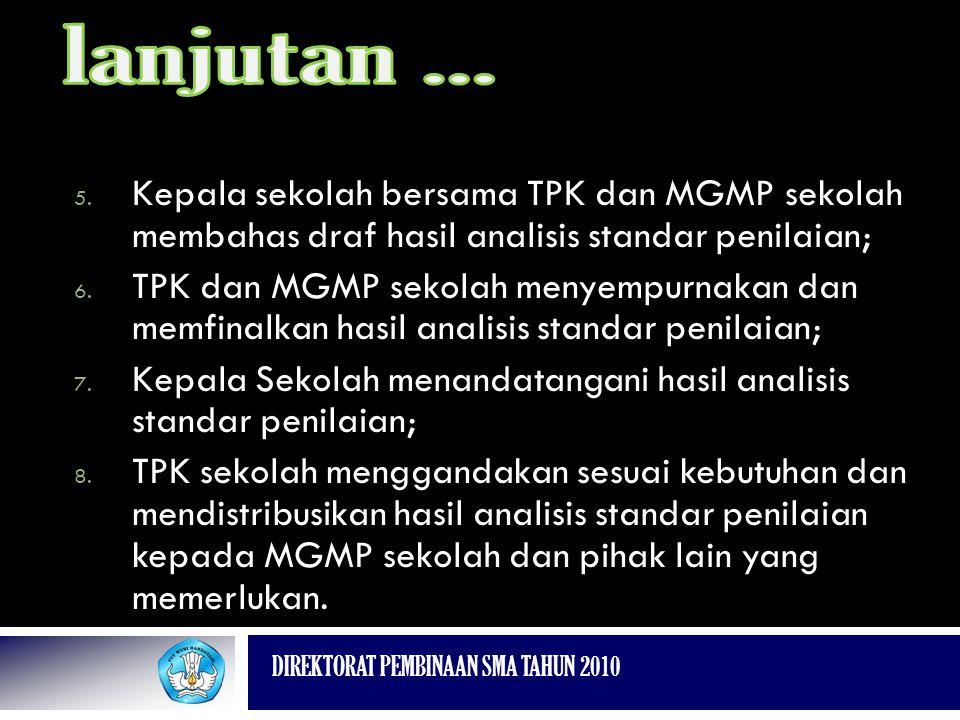 lanjutan ... Kepala sekolah bersama TPK dan MGMP sekolah membahas draf hasil analisis standar penilaian;