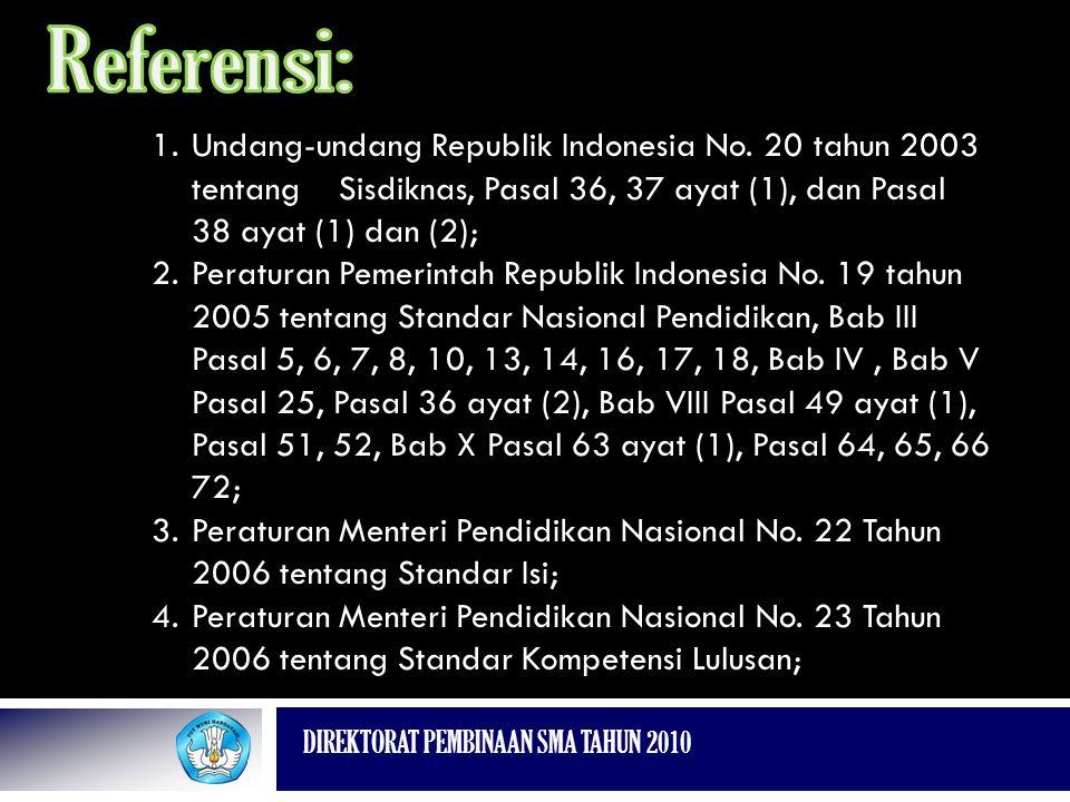 Referensi: Undang-undang Republik Indonesia No. 20 tahun 2003 tentang Sisdiknas, Pasal 36, 37 ayat (1), dan Pasal 38 ayat (1) dan (2);