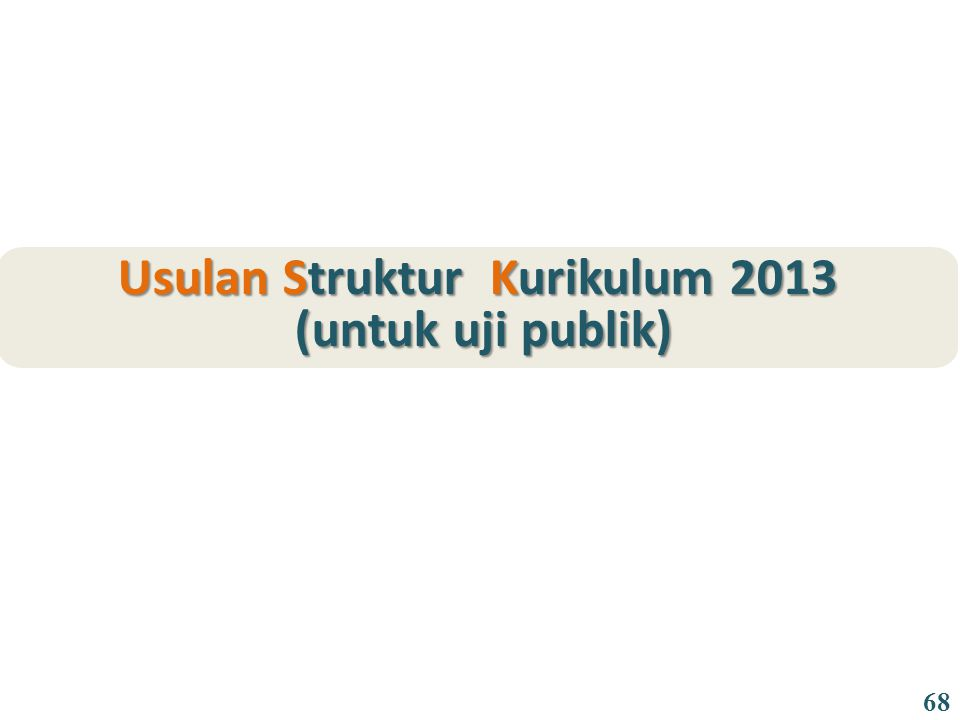 Usulan Struktur Kurikulum 2013