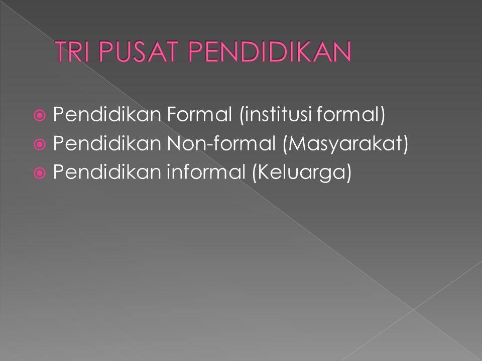 TRI PUSAT PENDIDIKAN Pendidikan Formal (institusi formal)