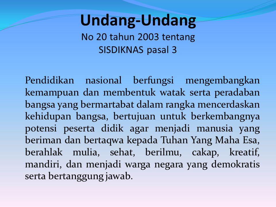 Undang-Undang No 20 tahun 2003 tentang SISDIKNAS pasal 3