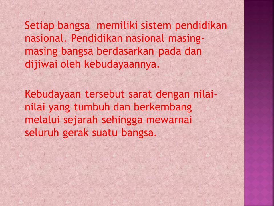 Setiap bangsa memiliki sistem pendidikan nasional