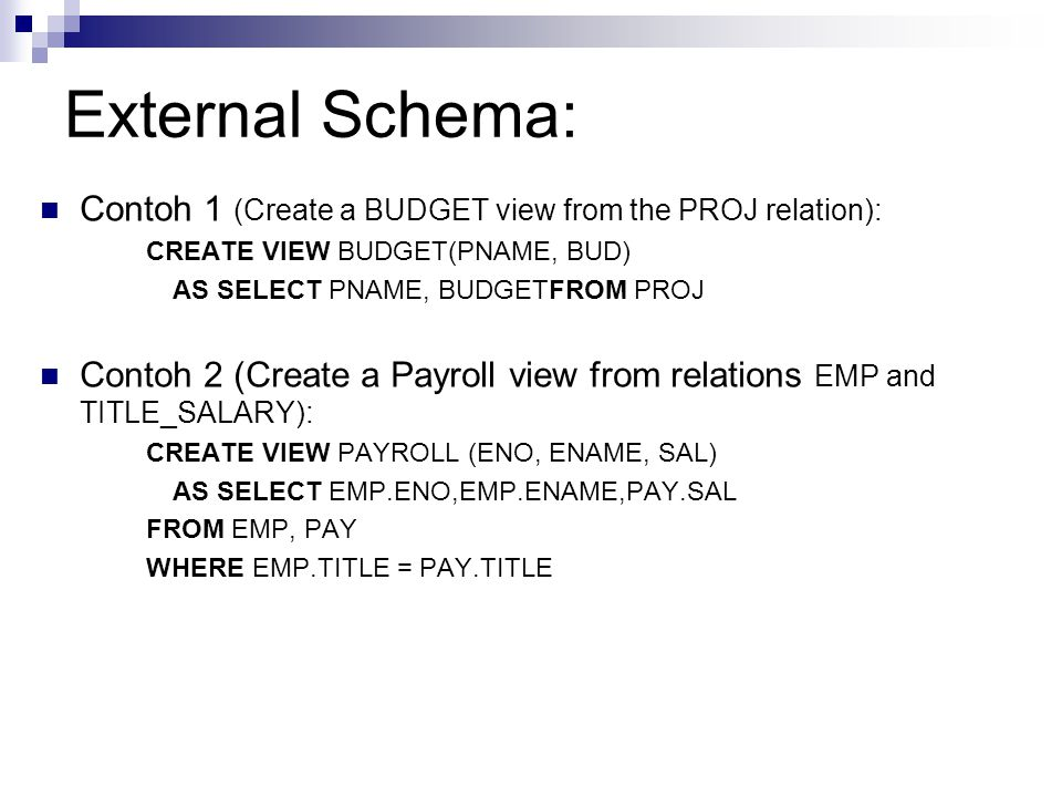 External Schema: Contoh 1 (Create a BUDGET view from the PROJ relation): CREATE VIEW BUDGET(PNAME, BUD)