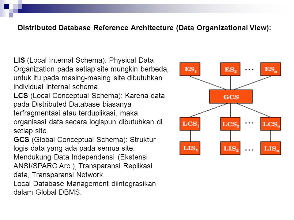 Distributed Database Reference Architecture (Data Organizational View):
