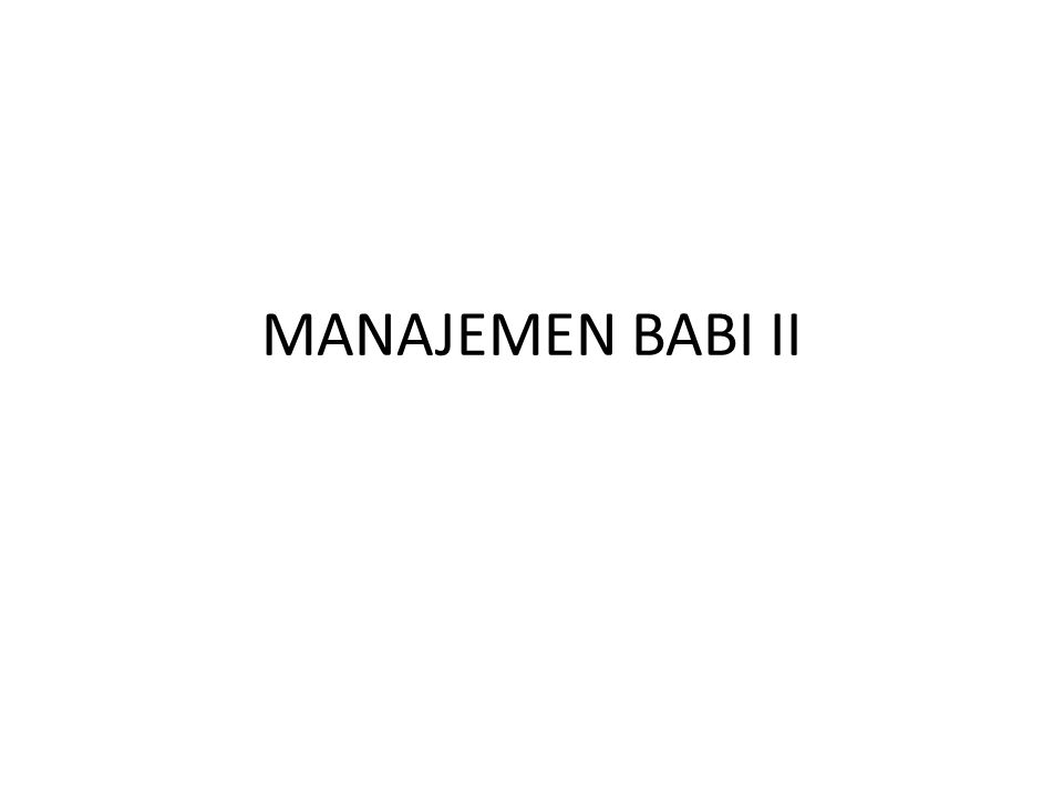 MANAJEMEN BABI II