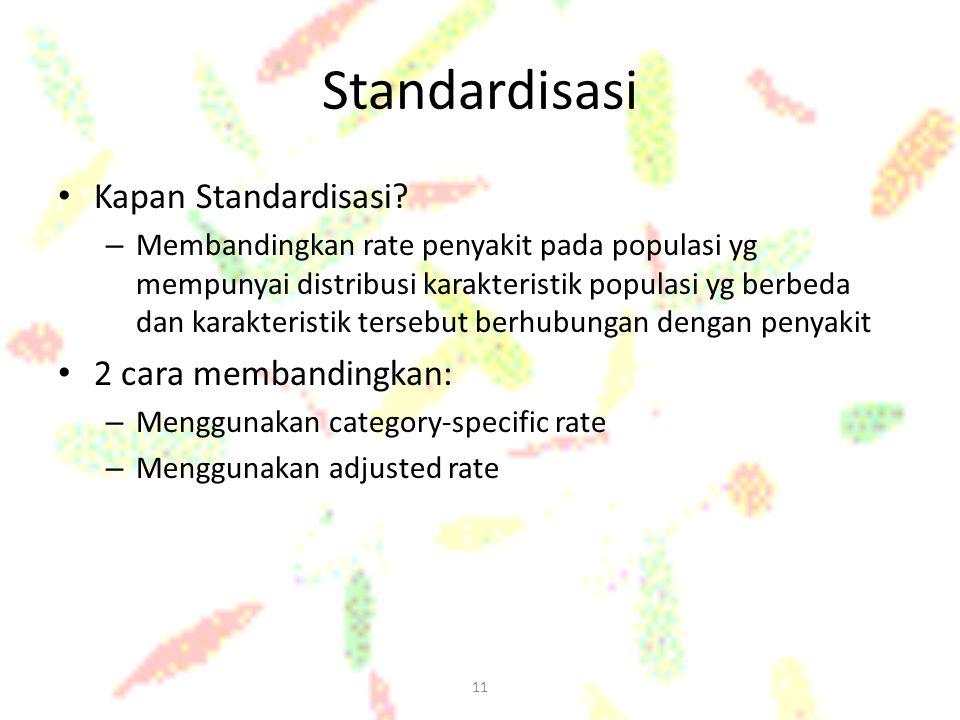 Standardisasi Kapan Standardisasi 2 cara membandingkan: