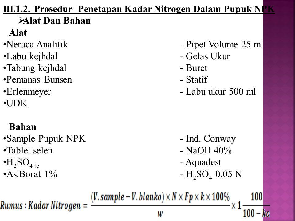 III.1.2. Prosedur Penetapan Kadar Nitrogen Dalam Pupuk NPK