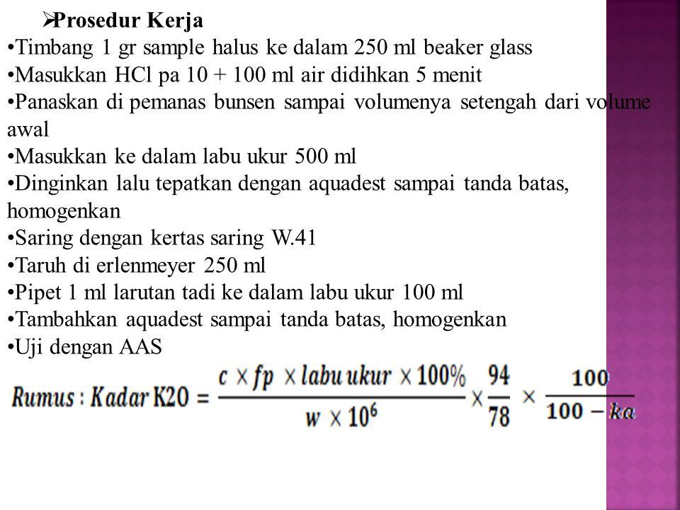 Prosedur Kerja Timbang 1 gr sample halus ke dalam 250 ml beaker glass. Masukkan HCl pa 10 + 100 ml air didihkan 5 menit.