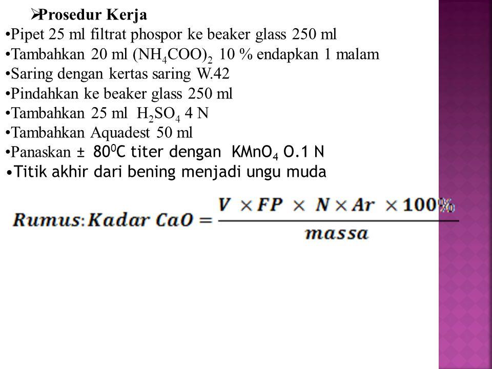 Prosedur Kerja Pipet 25 ml filtrat phospor ke beaker glass 250 ml. Tambahkan 20 ml (NH4COO)2 10 % endapkan 1 malam.