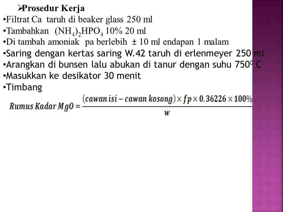 Prosedur Kerja Filtrat Ca taruh di beaker glass 250 ml. Tambahkan (NH4)2HPO4 10% 20 ml. Di tambah amoniak pa berlebih ± 10 ml endapan 1 malam.