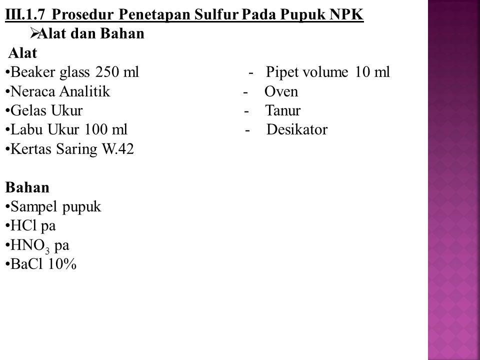 III.1.7 Prosedur Penetapan Sulfur Pada Pupuk NPK