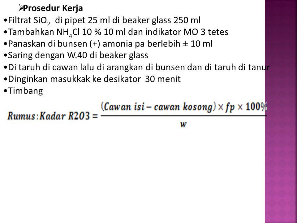 Prosedur Kerja Filtrat SiO2 di pipet 25 ml di beaker glass 250 ml. Tambahkan NH4Cl 10 % 10 ml dan indikator MO 3 tetes.