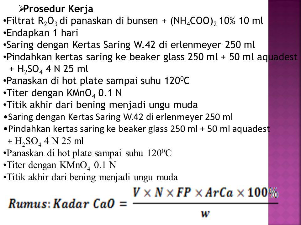 Prosedur Kerja Filtrat R2O3 di panaskan di bunsen + (NH4COO)2 10% 10 ml. Endapkan 1 hari. Saring dengan Kertas Saring W.42 di erlenmeyer 250 ml.