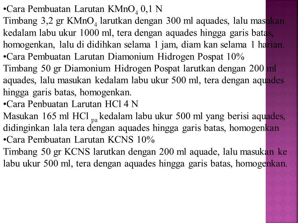 Cara Pembuatan Larutan KMnO4 0,1 N