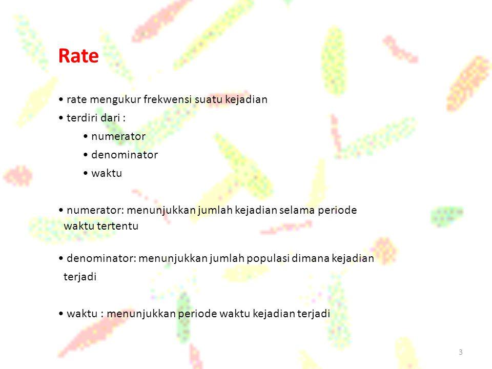 Rate rate mengukur frekwensi suatu kejadian terdiri dari : numerator