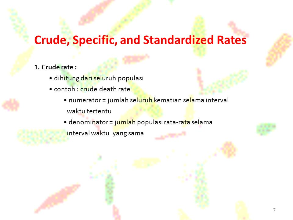 Crude, Specific, and Standardized Rates