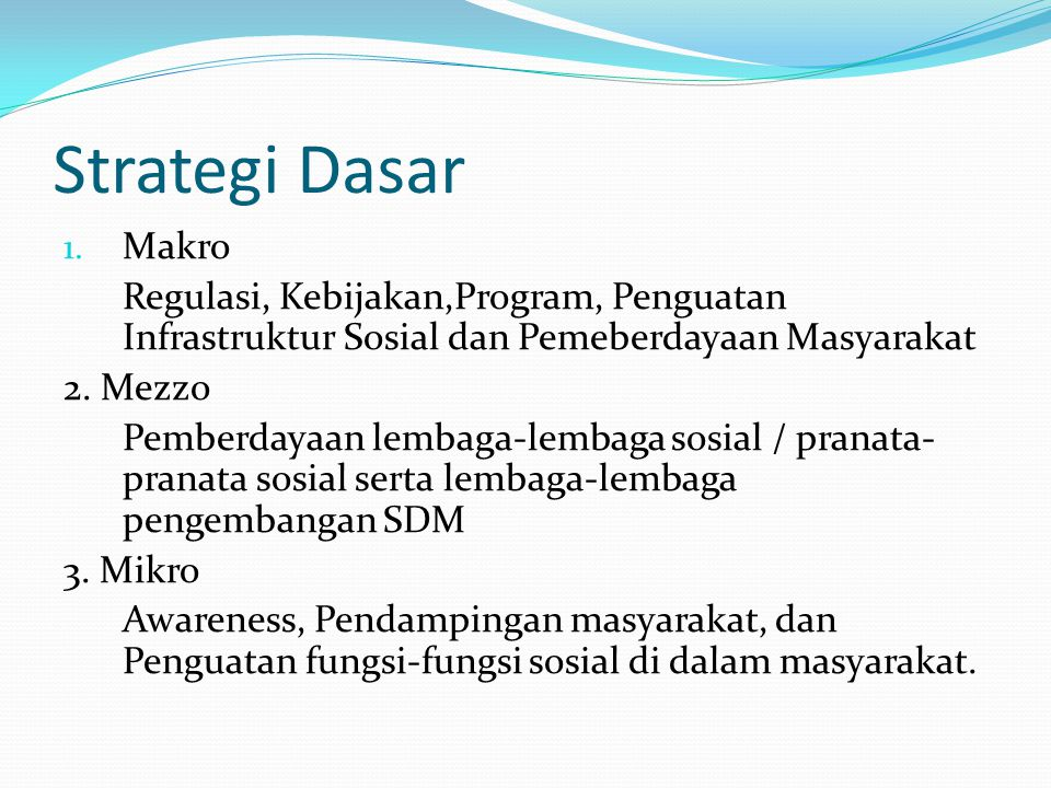 Strategi Dasar Makro. Regulasi, Kebijakan,Program, Penguatan Infrastruktur Sosial dan Pemeberdayaan Masyarakat.