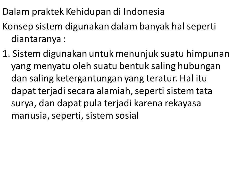 Dalam praktek Kehidupan di Indonesia Konsep sistem digunakan dalam banyak hal seperti diantaranya : 1.