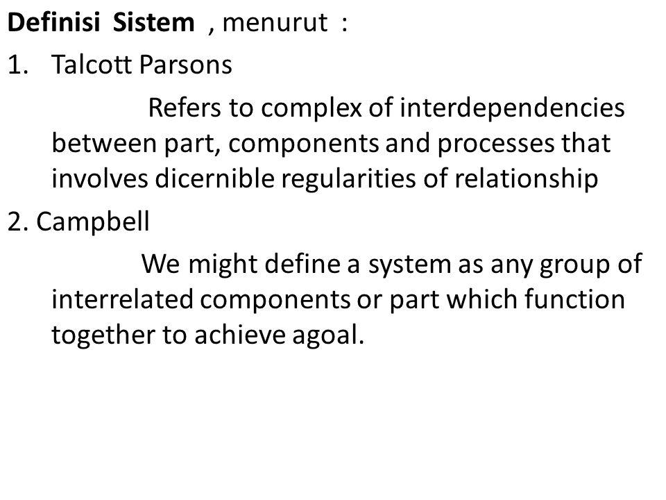Definisi Sistem , menurut :