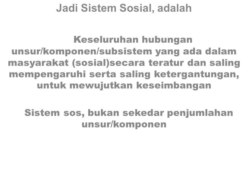 Jadi Sistem Sosial, adalah