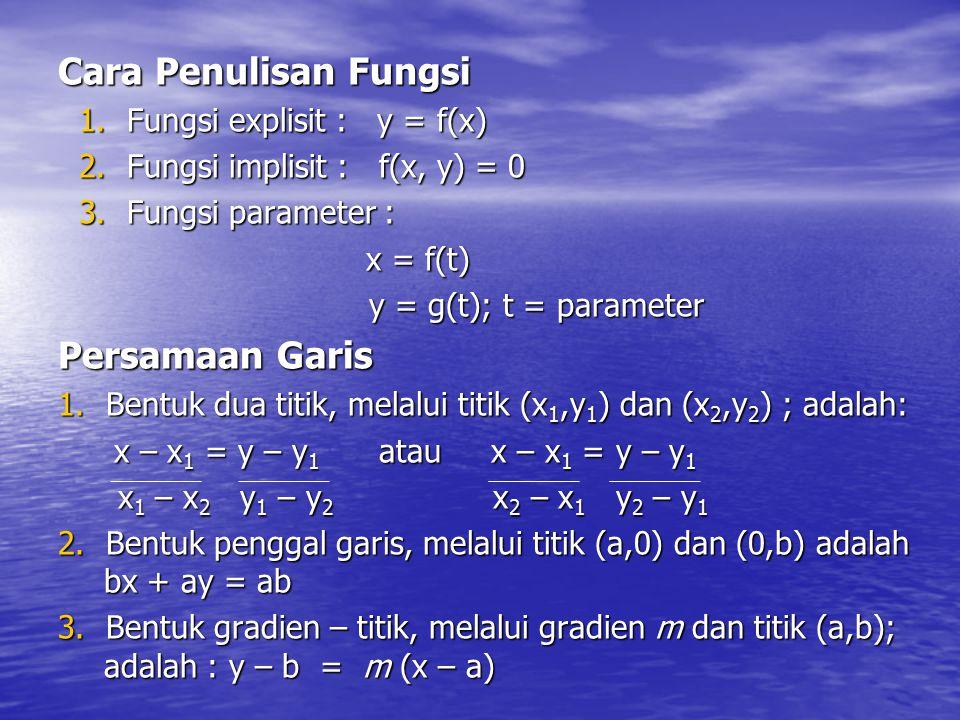 Cara Penulisan Fungsi Persamaan Garis Fungsi explisit : y = f(x)