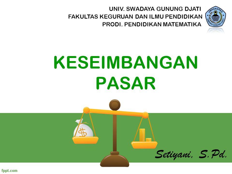 KESEIMBANGAN PASAR Setiyani, S.Pd. UNIV. SWADAYA GUNUNG DJATI