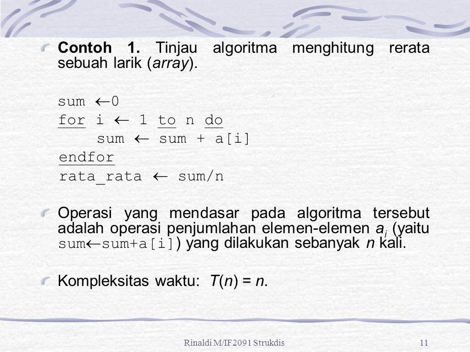 Contoh 1. Tinjau algoritma menghitung rerata sebuah larik (array).