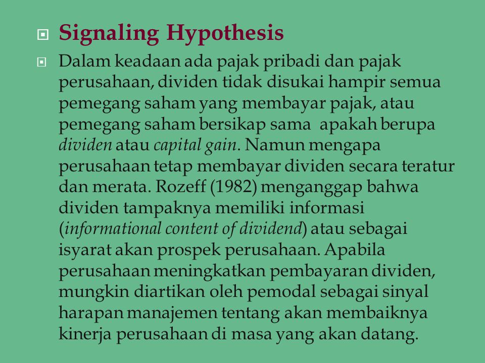 Signaling Hypothesis