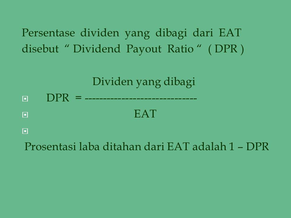 Persentase dividen yang dibagi dari EAT