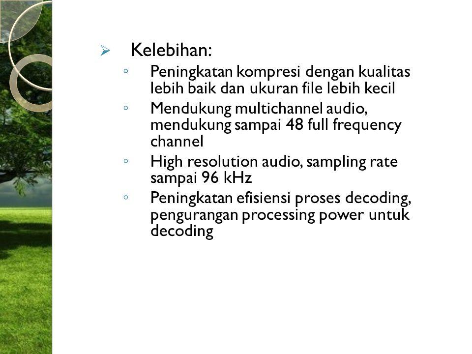 Kelebihan: Peningkatan kompresi dengan kualitas lebih baik dan ukuran file lebih kecil.