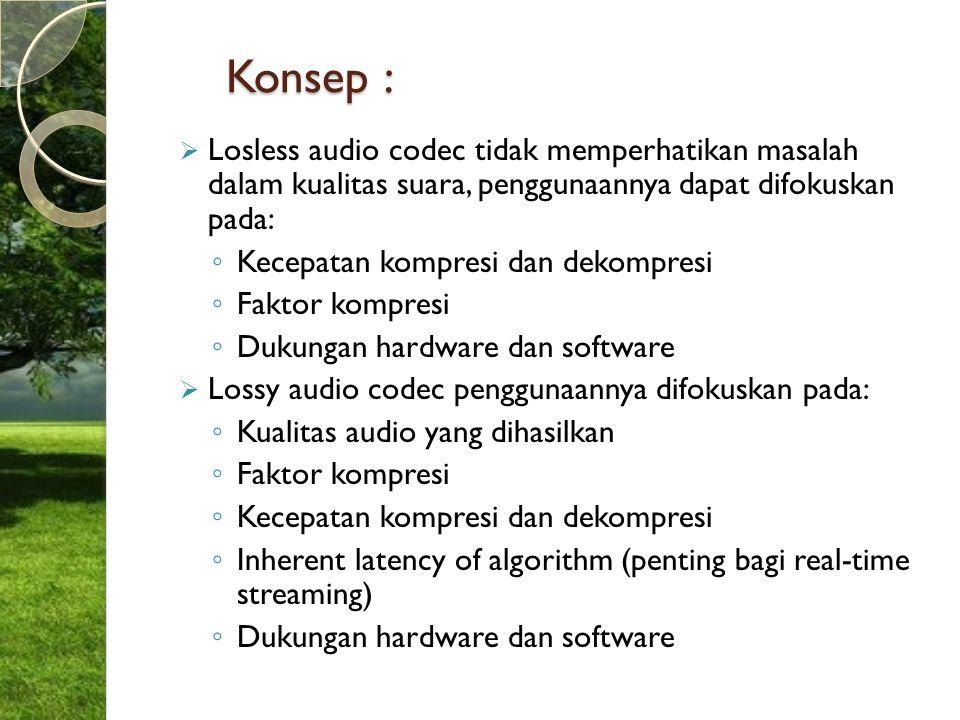 Konsep : Losless audio codec tidak memperhatikan masalah dalam kualitas suara, penggunaannya dapat difokuskan pada: