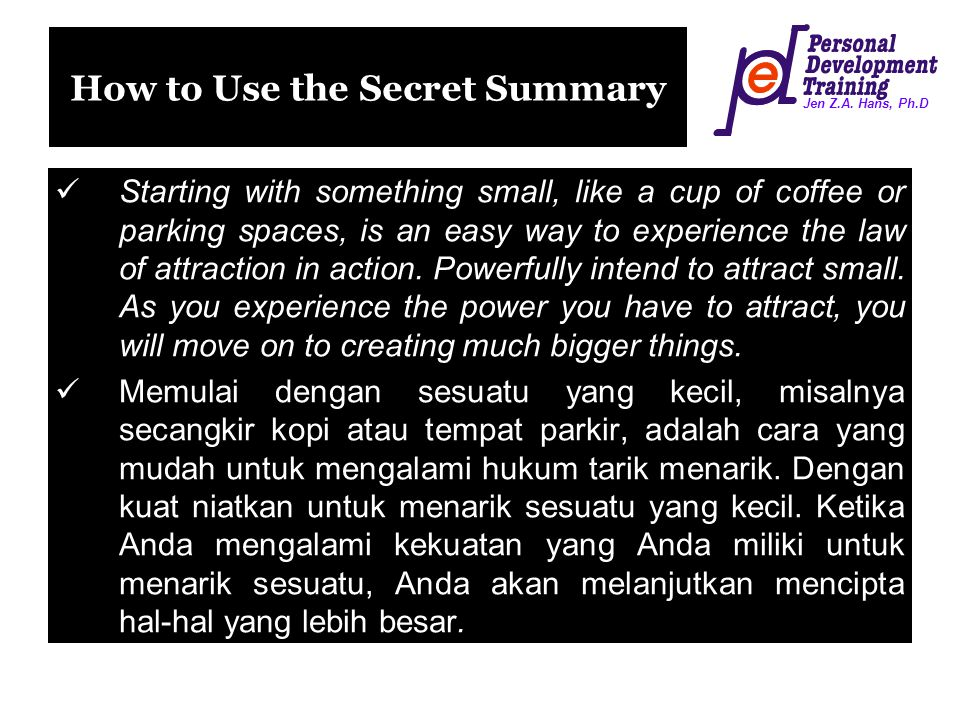 How to Use the Secret Summary