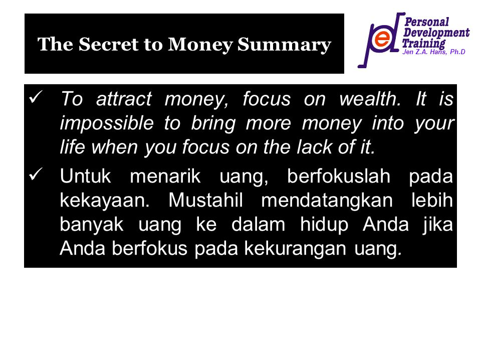 The Secret to Money Summary
