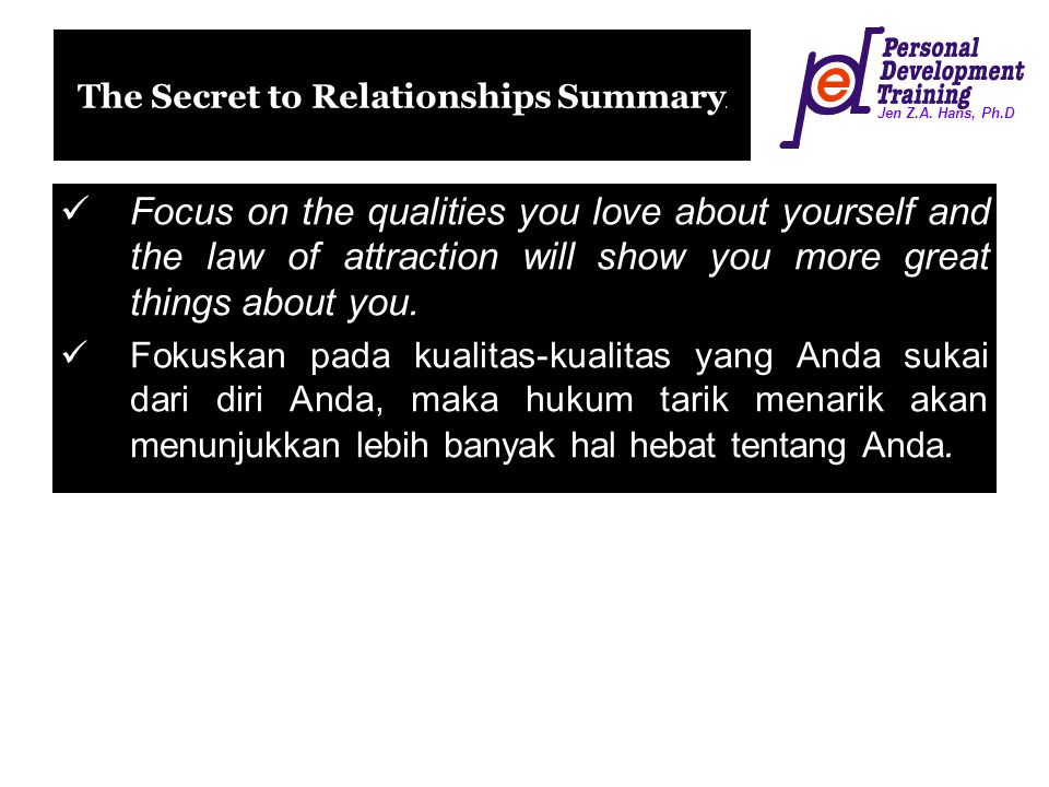 The Secret to Relationships Summary)
