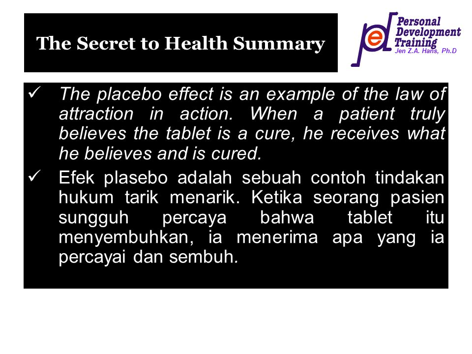 The Secret to Health Summary