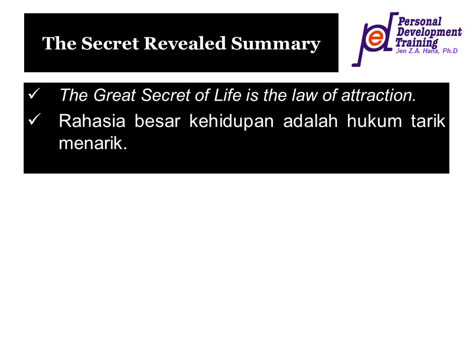 The Secret Revealed Summary