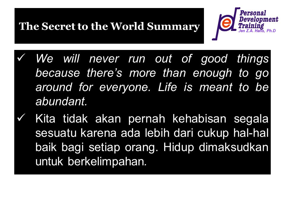 The Secret to the World Summary