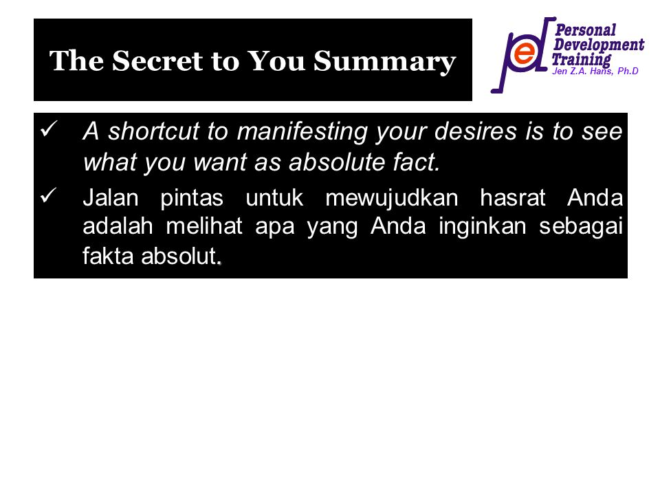 The Secret to You Summary