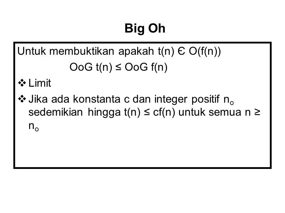 Big Oh Untuk membuktikan apakah t(n) Є O(f(n)) OoG t(n) ≤ OoG f(n)