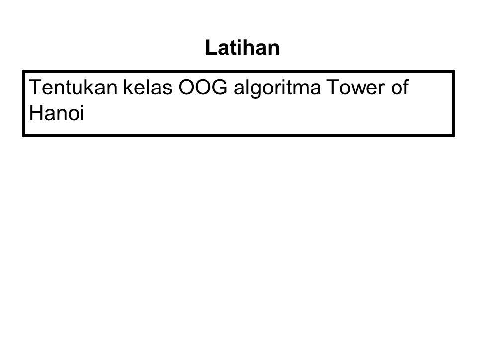 Latihan Tentukan kelas OOG algoritma Tower of Hanoi