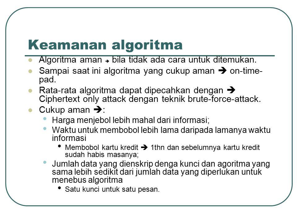 Keamanan algoritma Algoritma aman  bila tidak ada cara untuk ditemukan. Sampai saat ini algoritma yang cukup aman  on-time-pad.