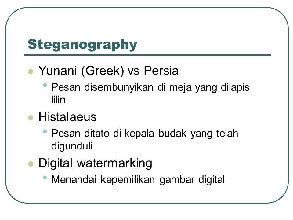 Steganography Yunani (Greek) vs Persia Histalaeus Digital watermarking