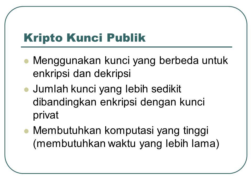 Kripto Kunci Publik Menggunakan kunci yang berbeda untuk enkripsi dan dekripsi.