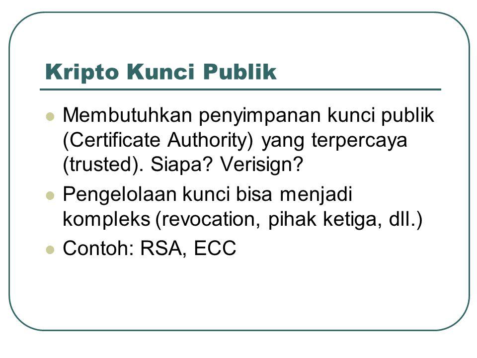 Kripto Kunci Publik Membutuhkan penyimpanan kunci publik (Certificate Authority) yang terpercaya (trusted). Siapa Verisign